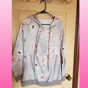 Floral Nursing Hoodie Top Sweatshirt